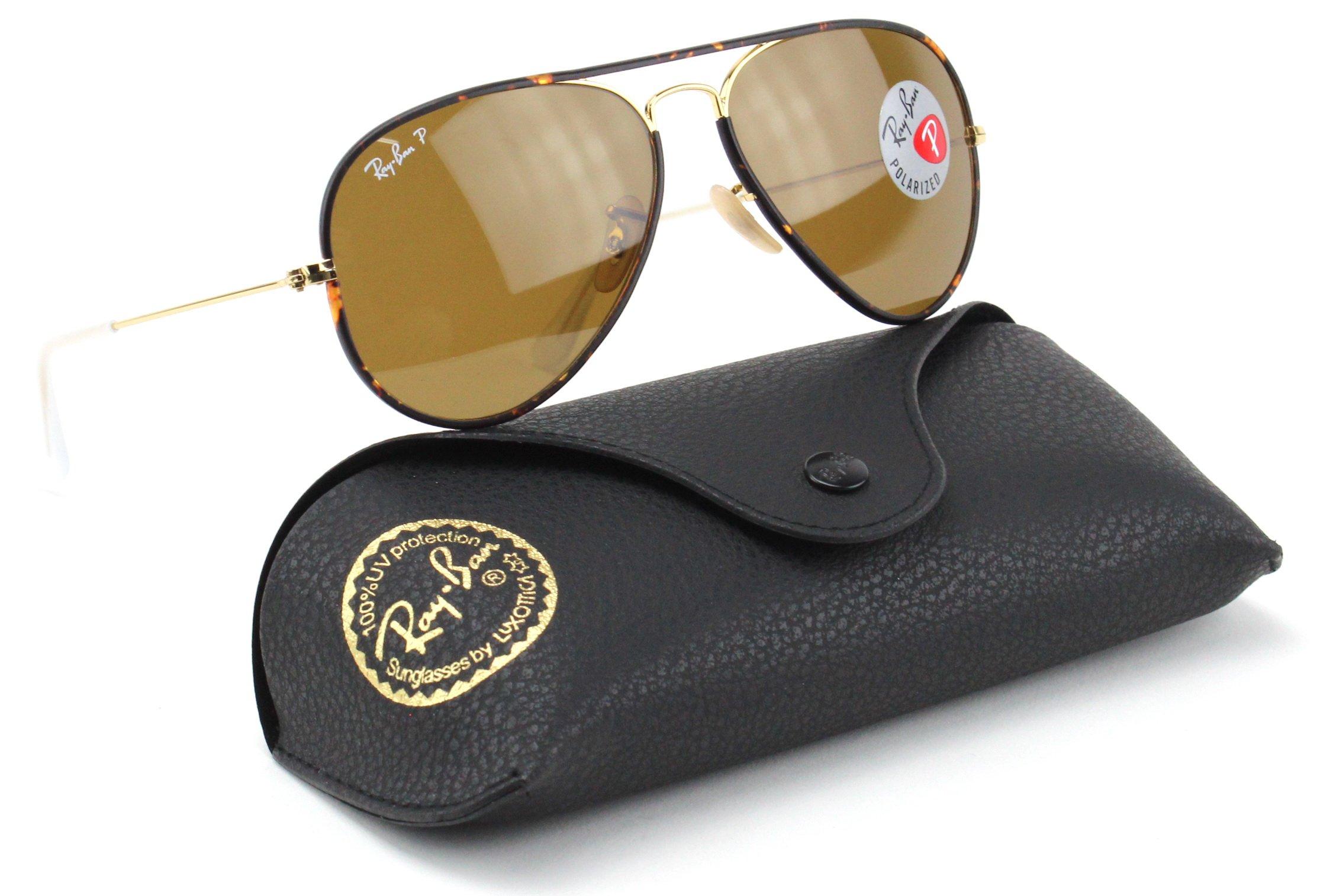 Ray-Ban RB3025JM 001/57 Sunglasses Tortoise Frame / Brown Polarized Lens 58mm