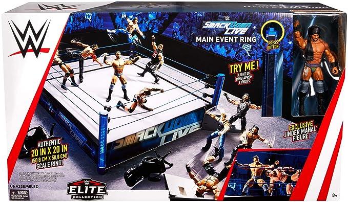 Wrestling Toy Figure Set w// Ring Wrestle Action Smack 12 Figures Arena Iron Rail