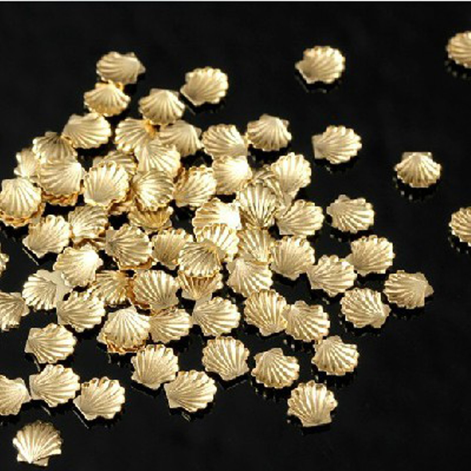 100pcs Gold Alloy Metal Shell Studs Beads 3mm For Nail Art Cellphone DIY Decoration Craft by enForten