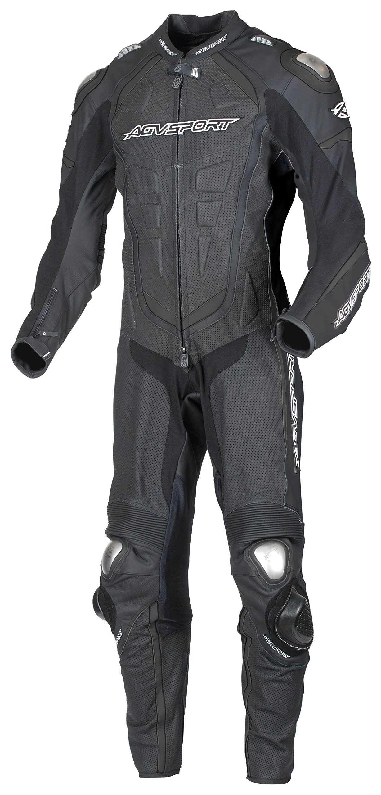 AGV Sport 1-Piece ''Podium'' Leather Race Suit (Black) - Size 48 US / 58 EU by AGV SPORT MOTORCYCLE LEATHERS (Image #1)