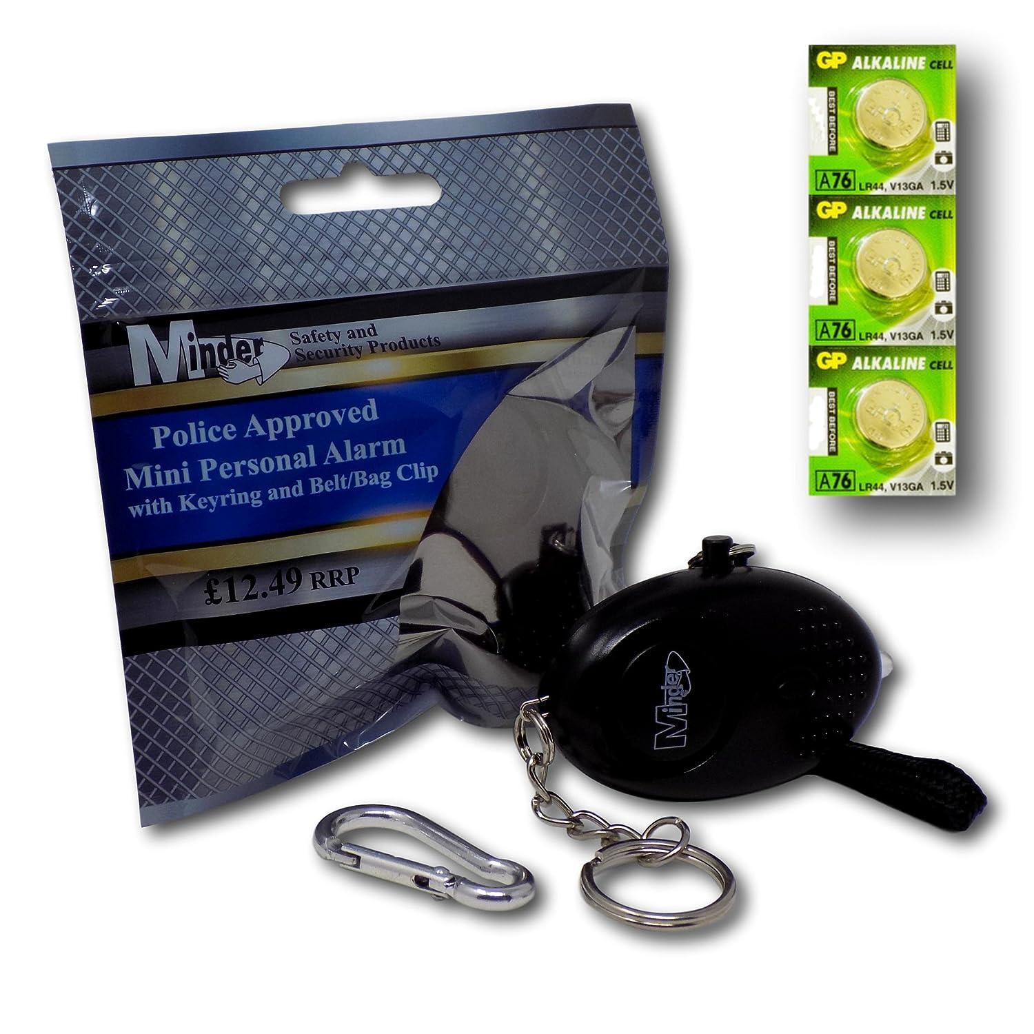 Minder Mini Key Ring Persö nliche Schlü sselalarm Angriff Rape Alarm 140dB mit Fackel (Schwarz) + Ersatz Batterie-Set