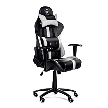 Diablo X-Player Gaming Chair Adjustable armrests Lumbar Pillow tilt  Mechanism Artificial Leather loadable up to 150 kg Color Selection  (Black/White),