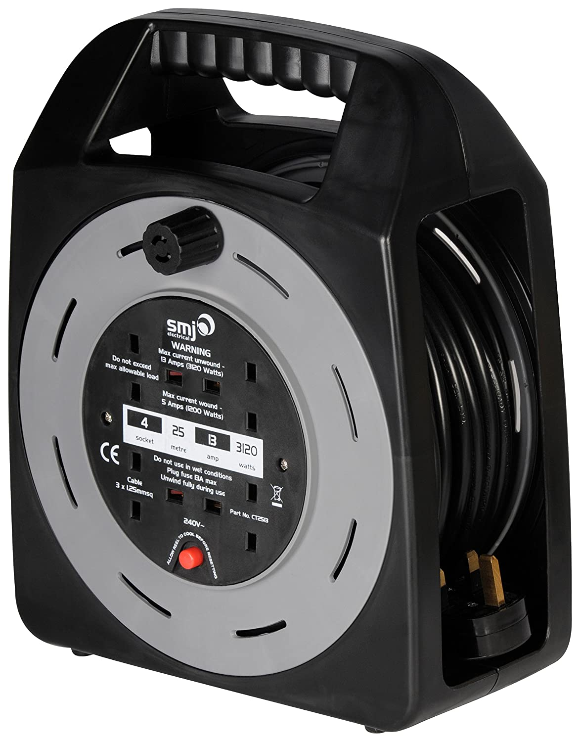SMJ Electrical CT2513 Cable Reel 13 A 4 Socket with Thermal Cutout of 25 m, metre