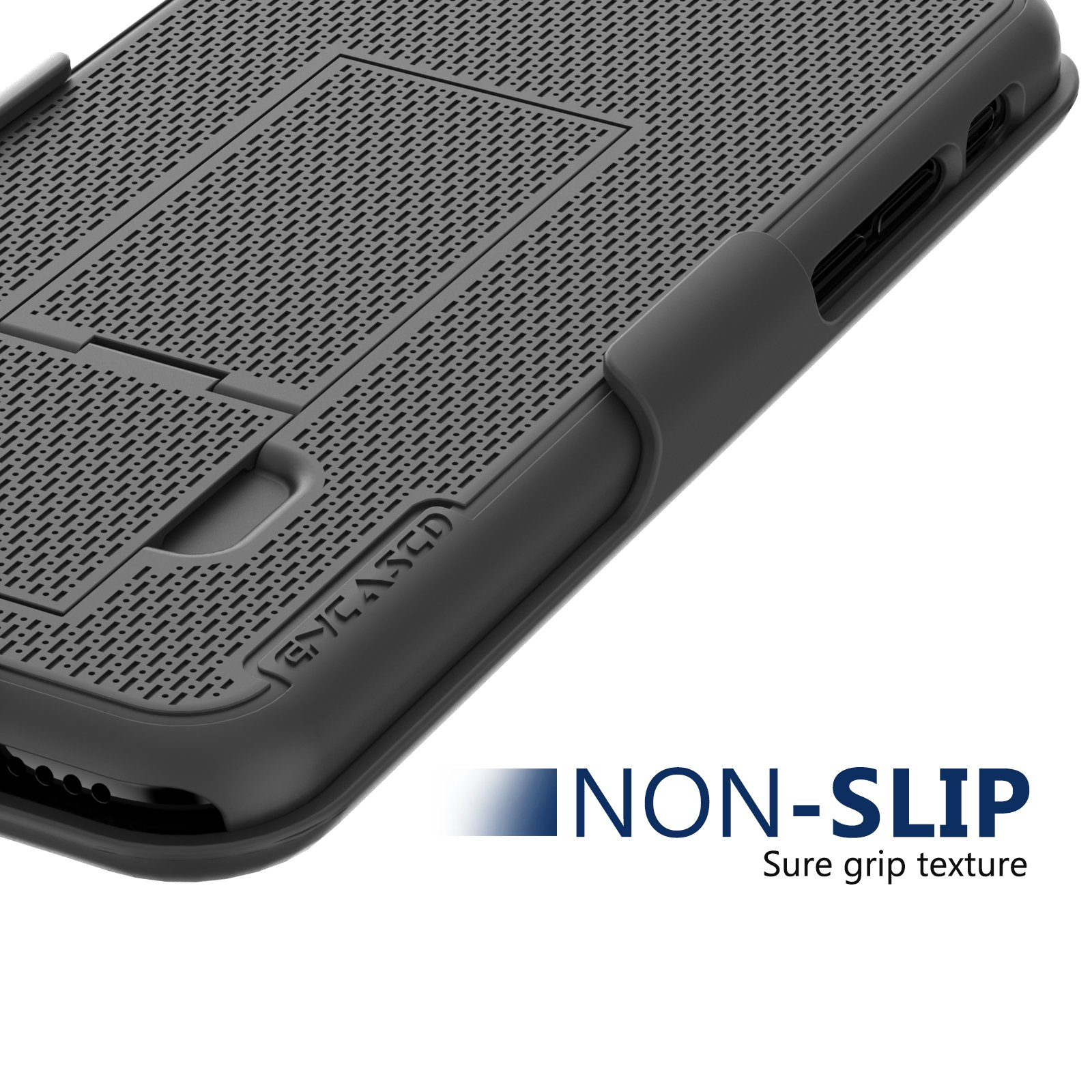 Encased iPhone 8 Belt Clip Case & Screen Protector [DuraClip] Slim Fit Holster Shell Combo (w/Rubberized Grip Finish) Apple iPhone8 (Smooth Black)