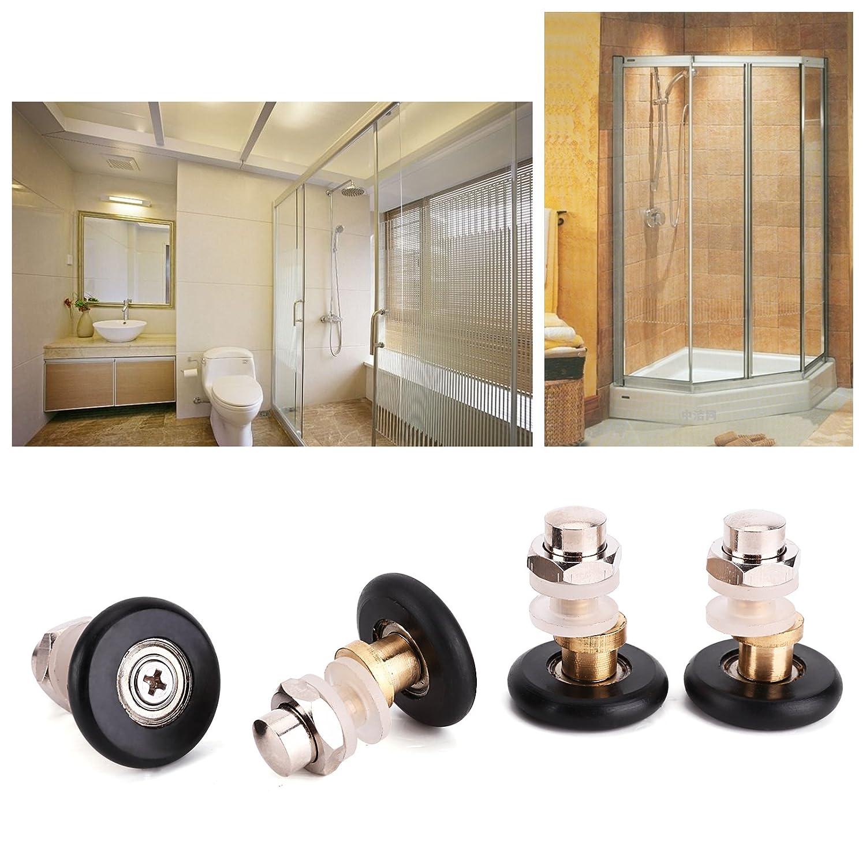 AKORD NUEVO sola puerta de la ducha rodillos//corredores//ruedas//poleas//gu/ías de 23/mm de di/ámetro DIY piezas de repuesto 4,6/x 3,6/x 2,6/cm gris