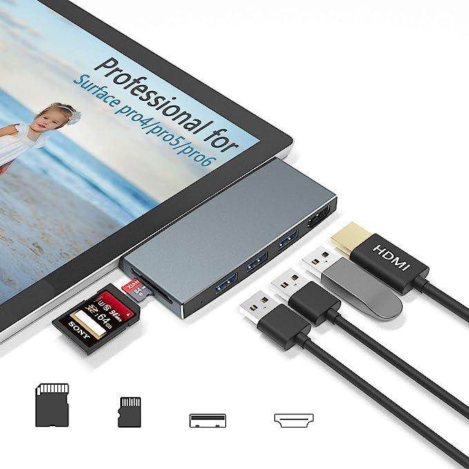 2 Puertos USB 3.0 Surface Pro Hub Compatible con Microsoft Surface Pro 4//5//6 Surface Pro Estaci/ón de acoplamiento Adaptador USB con 4K HDMI Lector Tarjetas SD//TF Puerto Gigabit Ethernet