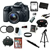 Canon EOS 70D SLR CMOS 20.2MP Digital Camera EFS 18-55mm Lens + 64GB Memory Card + Tiffen 58mm UV & CP Filters + Extra Battery + Accessory Kit
