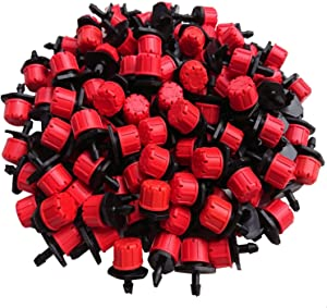Axe Sickle 100pcs Adjustable Irrigation Drippers Sprinklers 1/4 Inch Emitter Dripper Micro Drip Irrigation Sprinklers for Watering System.