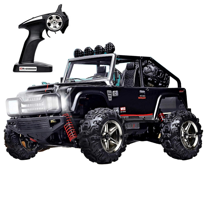 YJ.GWL 4WD RC Jeep, Maßstab 1/22, 25 km / h, Hochgeschwindigkeits-Geländewagen 2,4 GHz, tapferes Fernsteuerungs-Elektroauto mit Einzelradaufhängung und LED-Beleuchtung, RTR