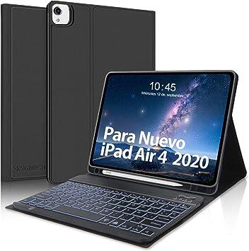 SENGBIRCH Teclado Español para iPad Air 10.9 Pulgadas 2020, Funda con Teclado Bluetooth para iPad Air 4/ iPad Pro 11 2021/2020/2018, Inteligente ...
