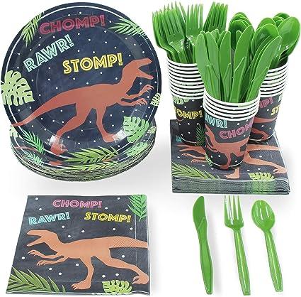 Amazon.com: Dinosaur Party Supplies – Serves 24 T-Rex Dino Paper ...