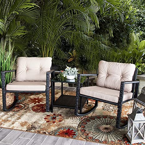 Amazon.com: Barton - Juego de 3 sillas de mimbre para patio ...