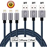 iPhone Charger Cable, Atill Premium Nylon Braided Lightning Cable Extra Long Charging Cord for iPhone 7 Plus 7 6 6s Plus 5 5s 5c SE iPad iPod & More( 3 Pack,Blue) (3ft)…