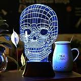 SAVFY 3D LED Lampe 3D Skull Illusion Light Skelett Tischlampe Schädel-Form Lichteffekt für Halloween Weihnachten Party(1 Stk)