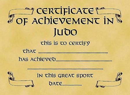 a4 parchment card certificate achievement in judo bulk pack of 10