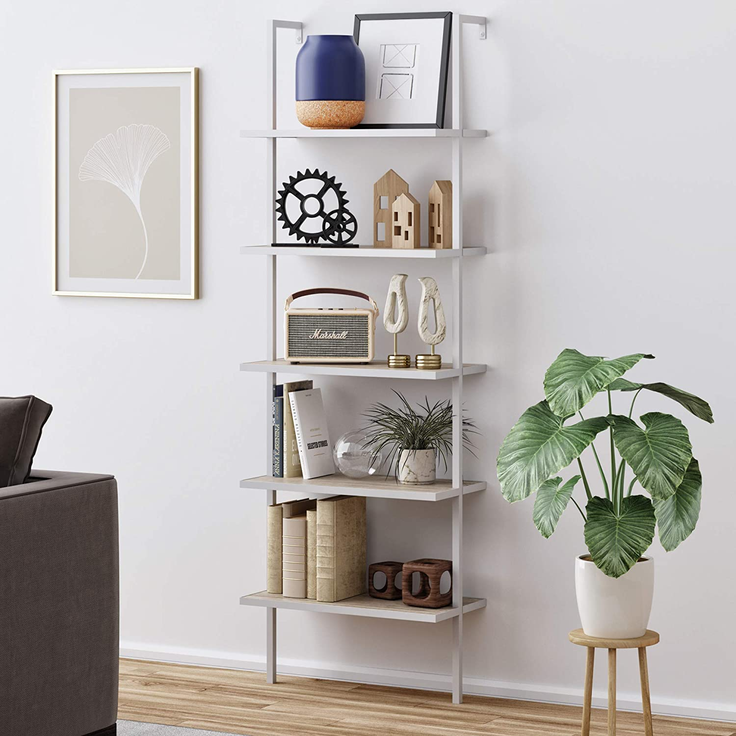 Nathan James 65504 Theo 5-Shelf Wood Ladder Bookcase with Metal Frame, Gray Oak/White