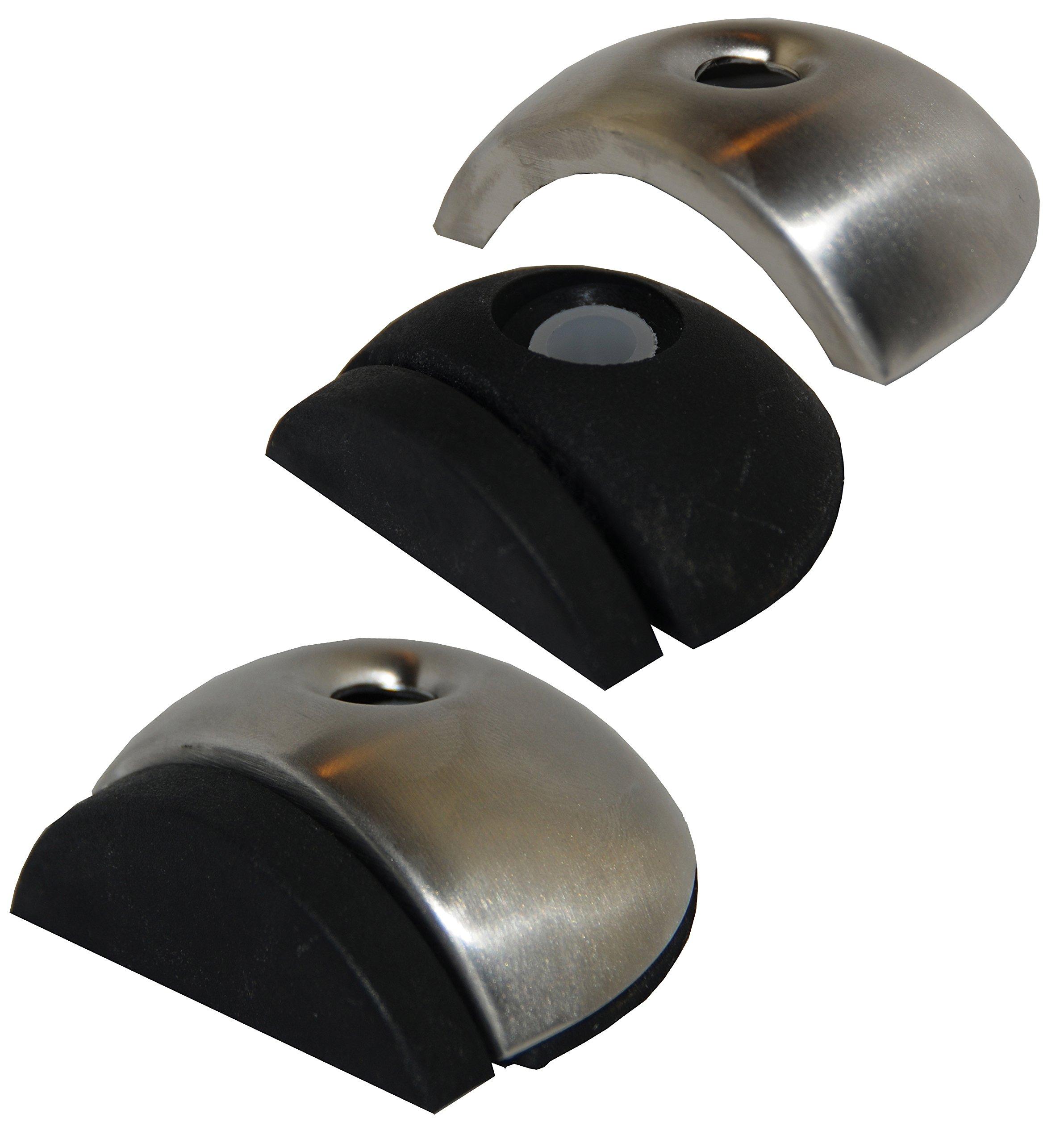 Set of 3 Stainless Steel Floor Mount Door Stopper, Rubber Bumper, Heavy Duty, 2''