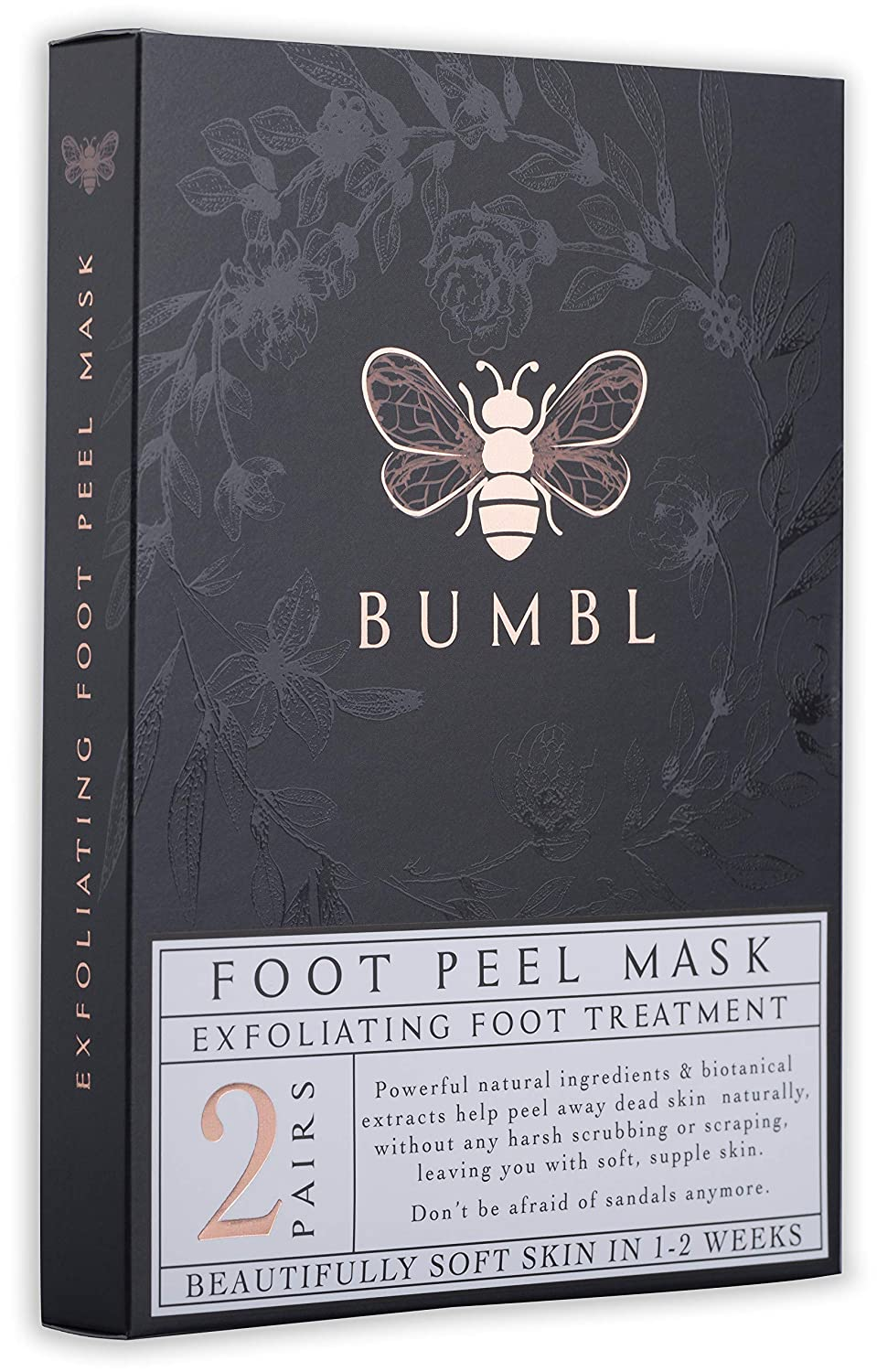 BUMBL Foot Peel Mask, Exfoliating Callus Remover. Perfect for Removing Dead Skin, Eliminating Foot Odor, and Repairing Rough Heels. Make Your Feet Baby Soft, All-Natural Biotanicals, 2 Pairs Per Box KylerMaddox