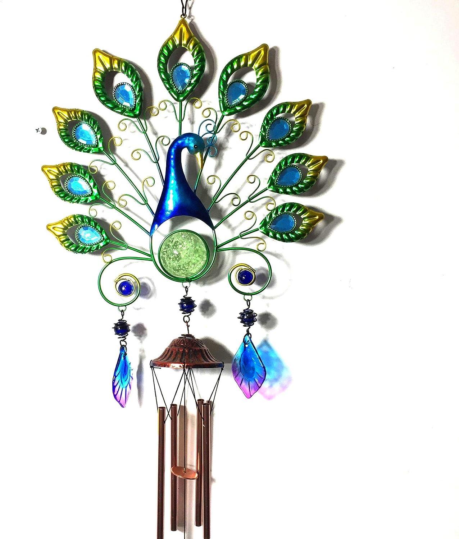 KWOSJYAL Luz Solar de Campana de Viento de Pavo Real Colgante Colgante de Pavo Real de Hierro Luz Colgante de Campana de Viento de Pavo Real LED con Control de luz