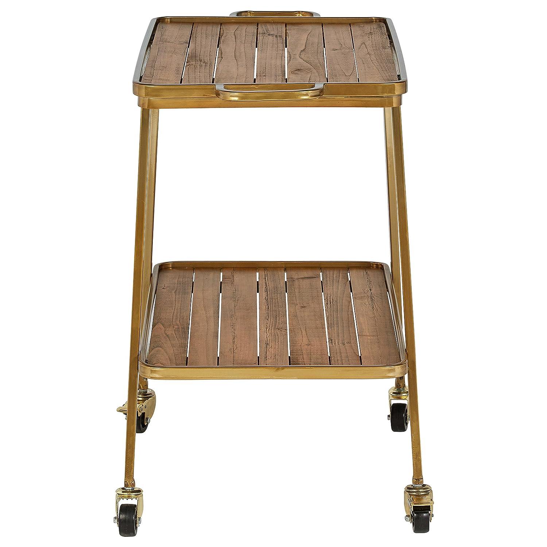 Rivet Modern Wood Bar Cart, 28 H, Gold