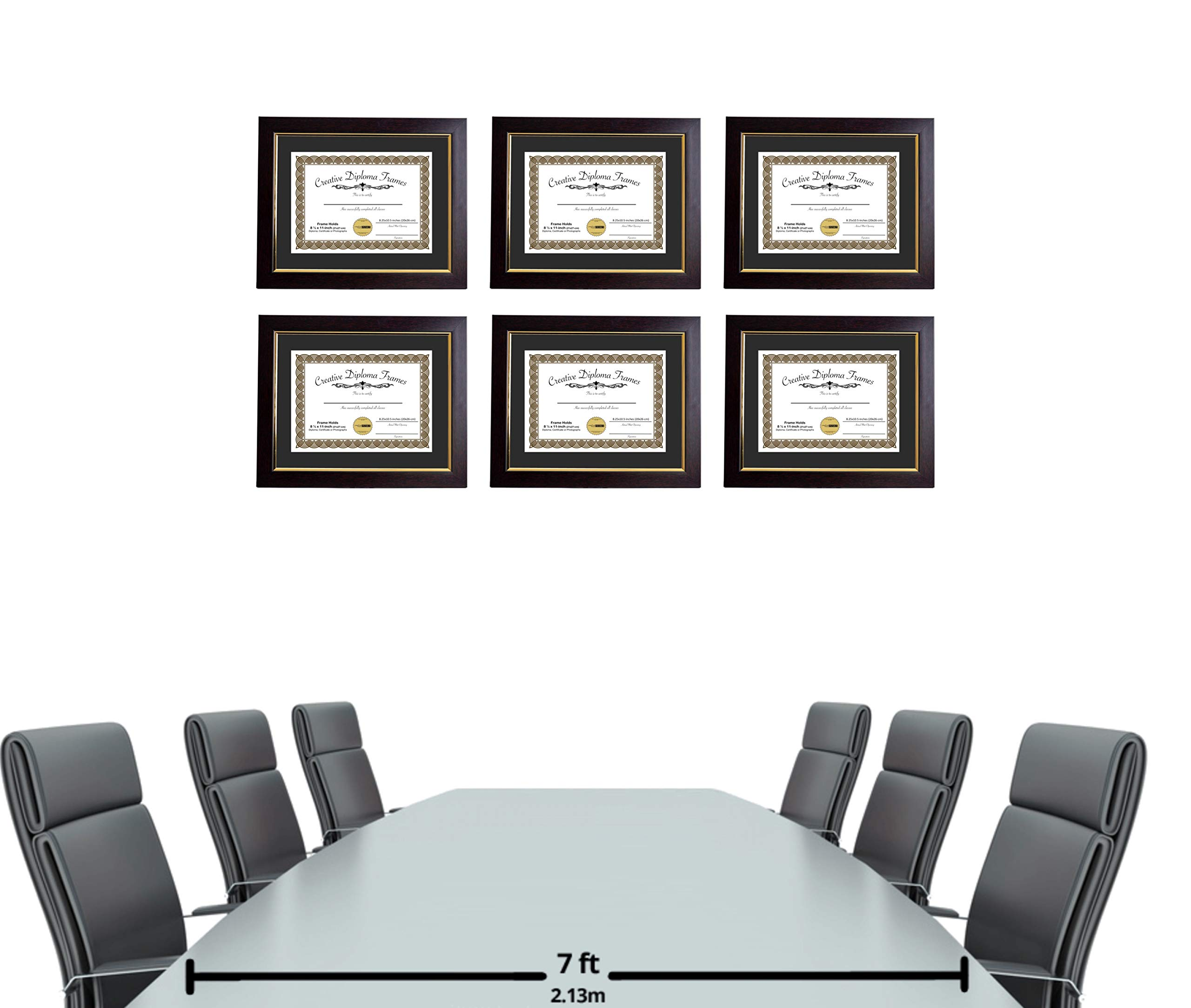 CreativePF [mhg024] 11x14-inch Matted Eco Mahogany Diploma Frame Gold Lip with Black/White Core Mat Holds 8.5x11-inch Media, with Installed Hangers (4-Pack) by Creative Picture Frames (Image #4)
