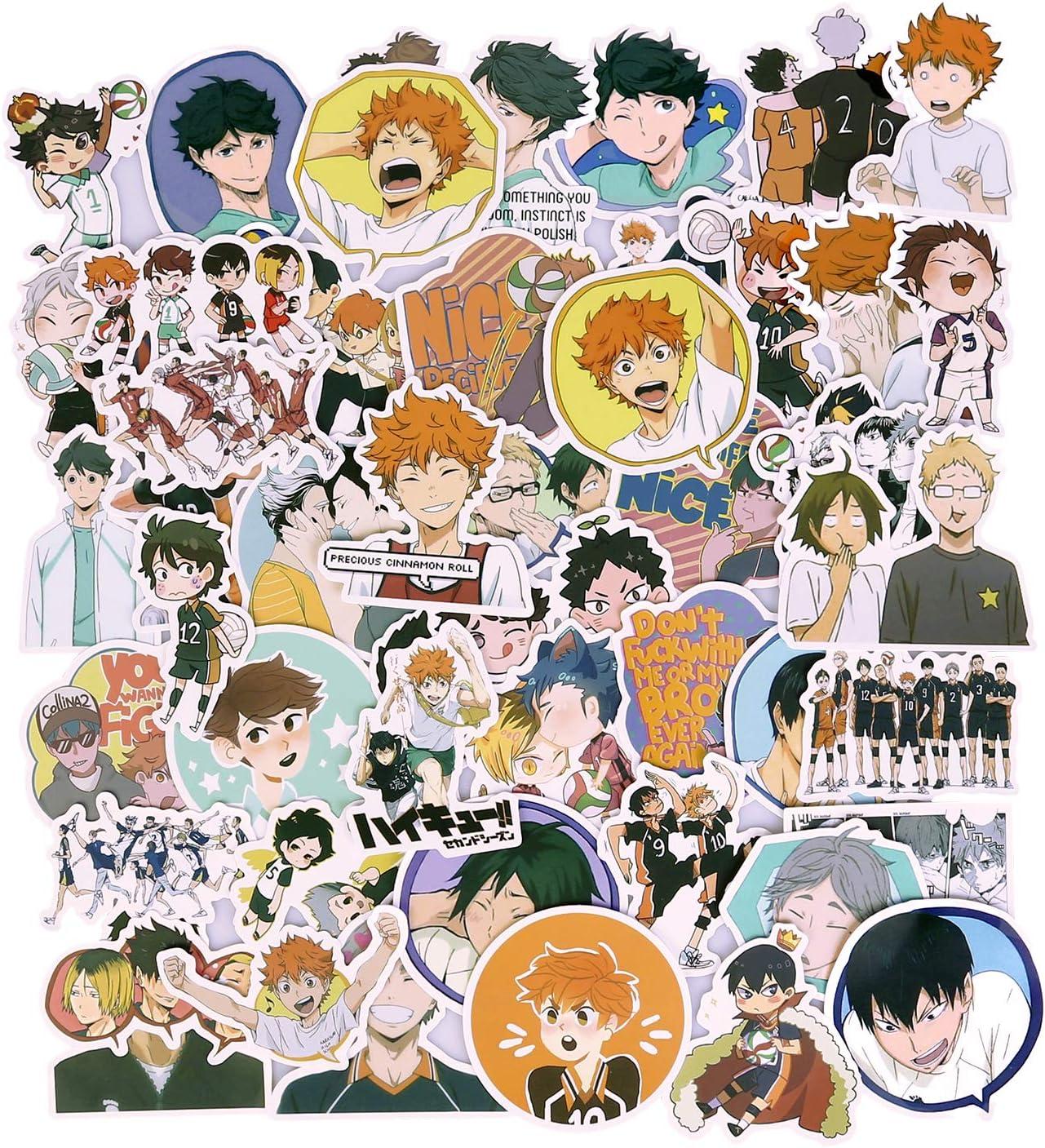 Haikyuu Stickers, Anime Stickers Waterproof Vinyl Stickers Laptop Stickers Skateboard Stickers for Teens Water Bottle Stickers Bike Bumper Luggage Graffiti Decals(50pcs)
