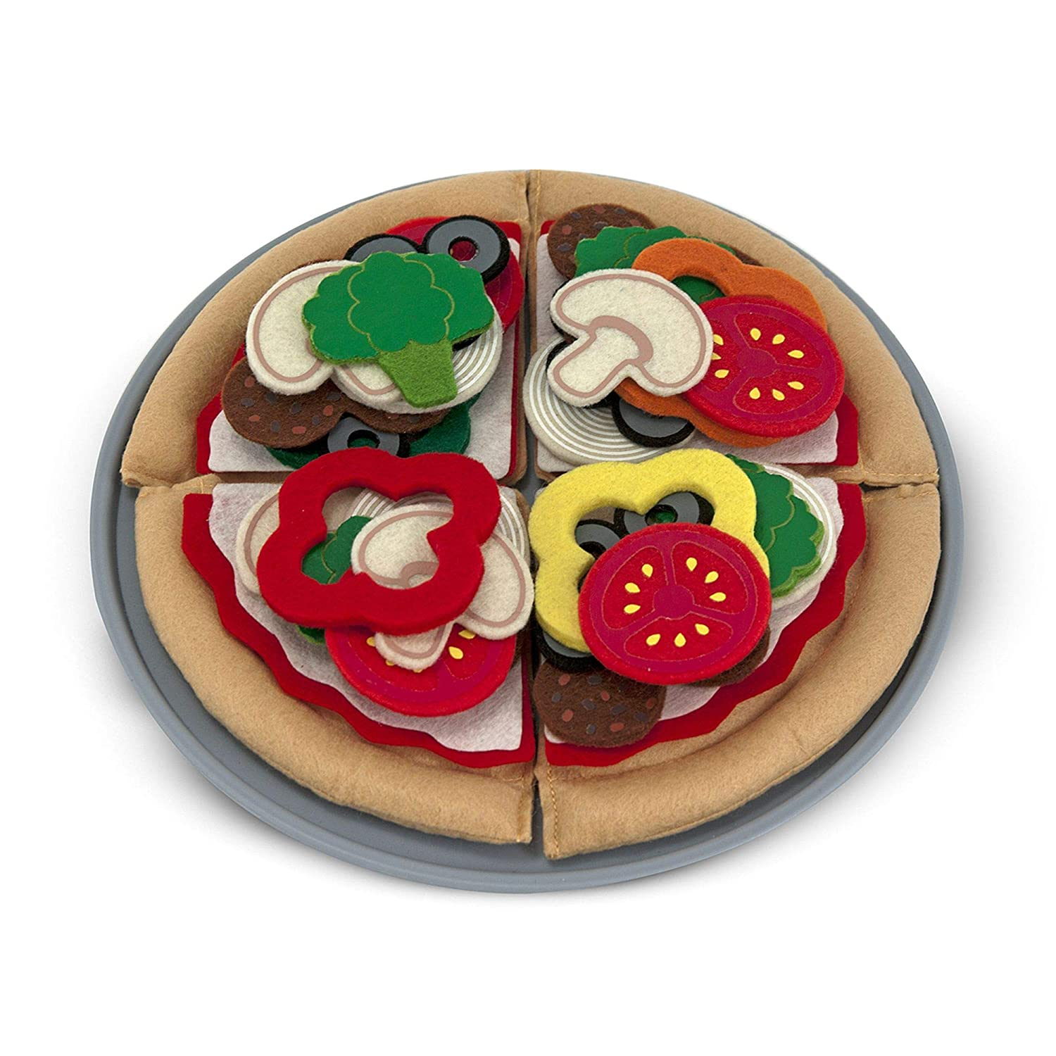 "Melissa & Doug Felt Play Food Pizza Set, Pretend Play, Easy to Clean, Includes Play Ideas, 42 Durable Pieces, 11.25"" H x 11.25"" W x 1.1"" L"