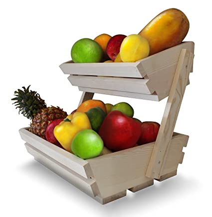 Fruit Basket Stand Premium 2 Tier Wooden Display Rack For Fruits