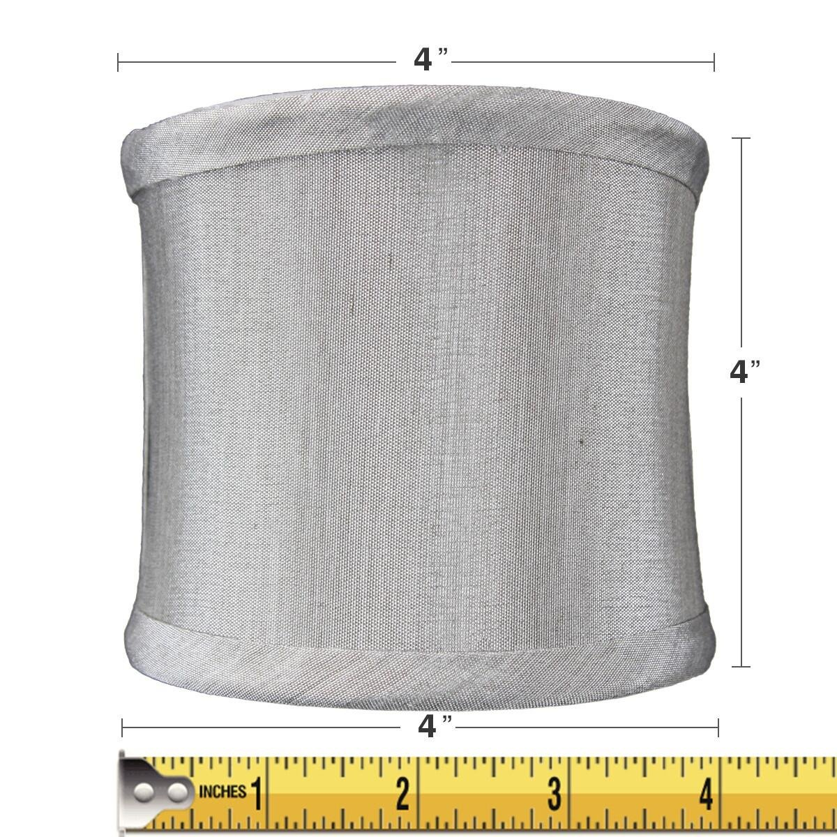4x4x4 Grey Shantung Clip-On Sconce Half-Sconce Lampshade By Home Concept - Perfect for chandeliers, foyer lights, and wall sconces -Small, Grey by HomeConcept (Image #2)