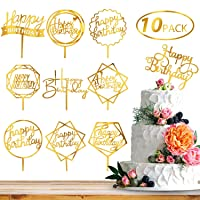 Whaline 10 Pack Birthday Cake Topper Gold Happy Birthday Cupcake Topper Acrylic Cake Decoration for Kids Adults Birthday Party Baby Shower