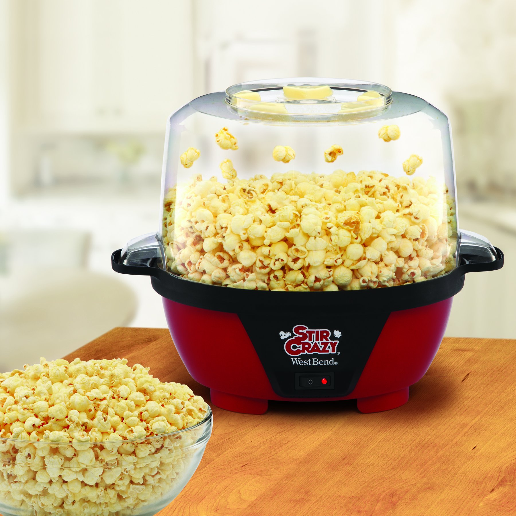 West Bend 82505 Stir Crazy Electric Hot Oil Popcorn Popper Machine with Stirring Rod Offers Large Lid for Serving Bowl and Convenient Storage, 6-Quarts, Red by West Bend (Image #3)