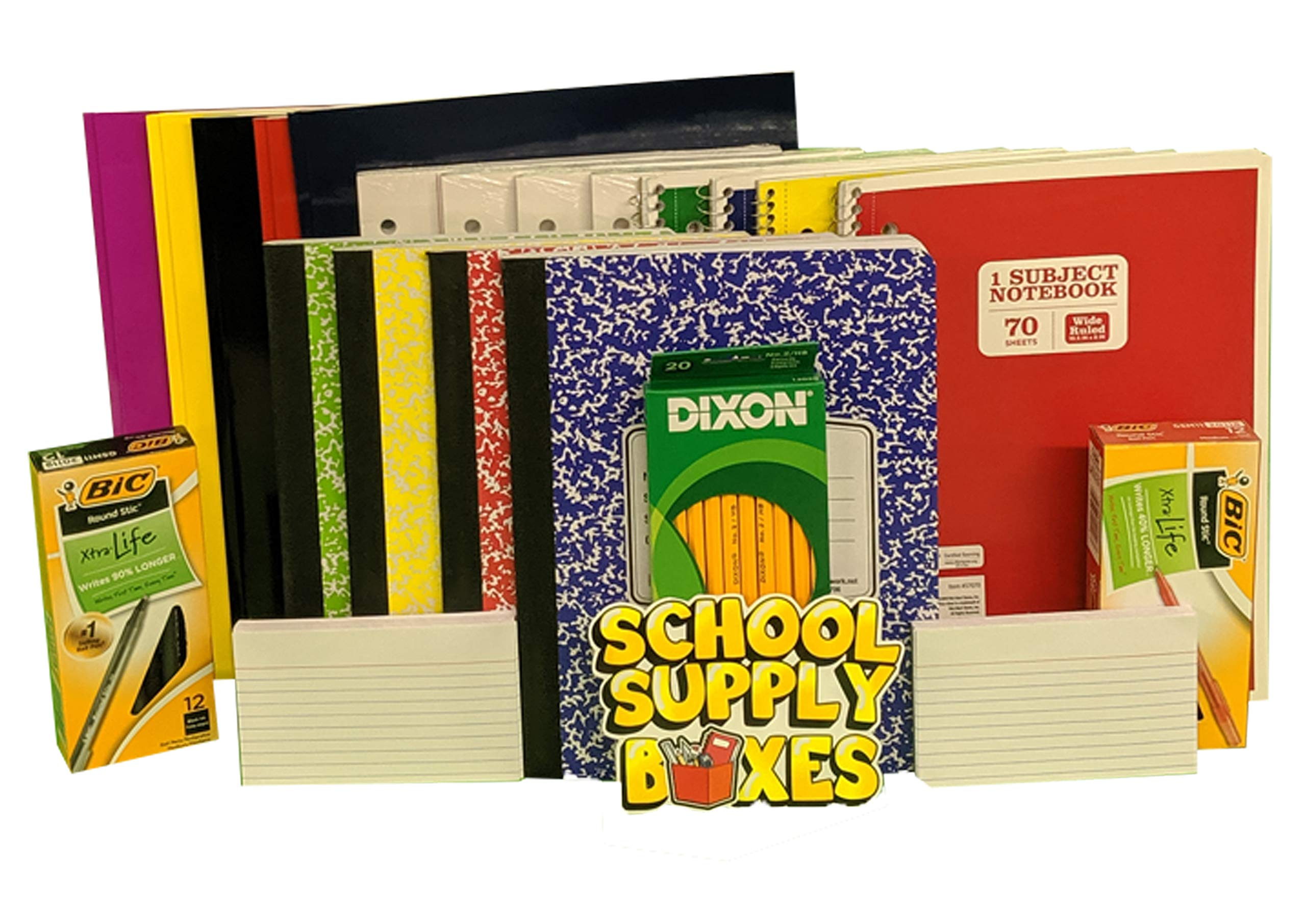 Elementary Writing Bundle - Back to School Essentials for Elementary Students - Includes Folders, Notebooks, Composition Notebooks, Filler Paper, Index Cards, #2 Pencils, Black Pens, and Red Pens