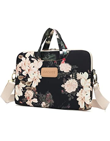 e56c5b2b5415 DACHEE Black Peony Patten Waterproof Laptop Shoulder Messenger Bag Case  Sleeve for 14 Inch 15 Inch