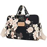 Dachee Black Peony Patten Waterproof Laptop Shoulder Messenger Bag Case Sleeve for 14 Inch 15 Inch Laptop Case Laptop Briefca