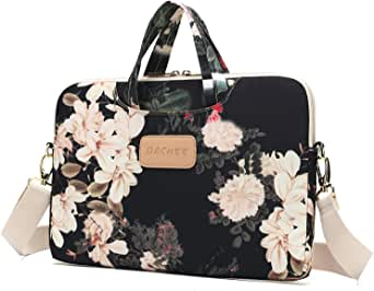 Dachee Black Peony Patten Waterproof Laptop Shoulder Messenger Bag Case Sleeve for 14 Inch 15 Inch Laptop Macbook Pro 15 Case Laptop Briefcase 15.6 Inch