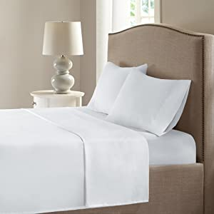 Comfort Spaces Coolmax Moisture Wicking 4 Piece Set Smart Bed Cooling Sheets for Night Sweats, Cal King, White