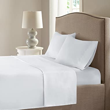 Comfort Spaces Coolmax Moisture Wicking 4 Piece Set Smart Bed Cooling Sheets for Night Sweats, King, White