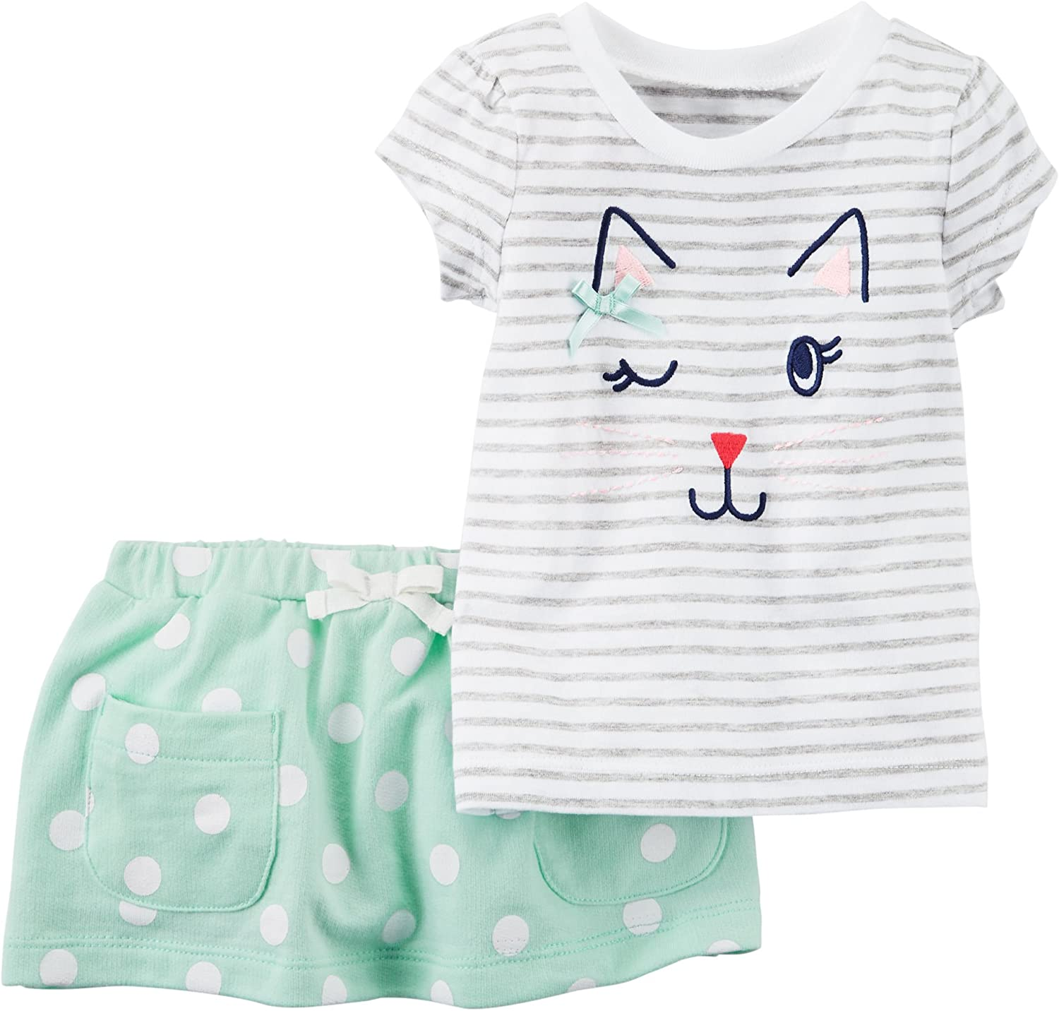 Carters Baby Girls Short Sleeve Striped Cat Face Top and Dot Skirt Set 6 Months