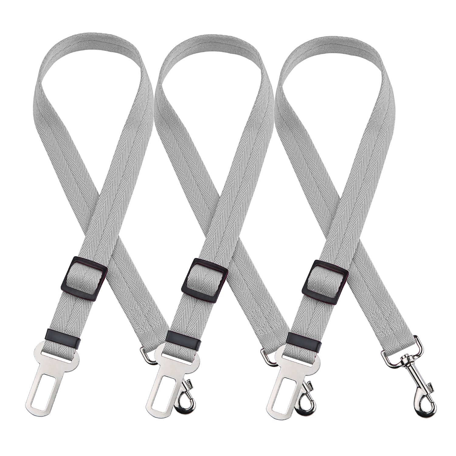 luciphia Dog Seat Belt, 3 Packs Adjustable Vehicle Car Seatbelt Leash Safety Leads Harness for Pets Cats Animals Gray