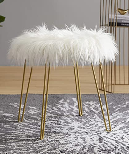 Ornavo Home Modern Contemporary Faux Fur Round Ottoman Foot Rest Stool Seat with Gold Metal Legs – 17 L x 17 W x 18 H White