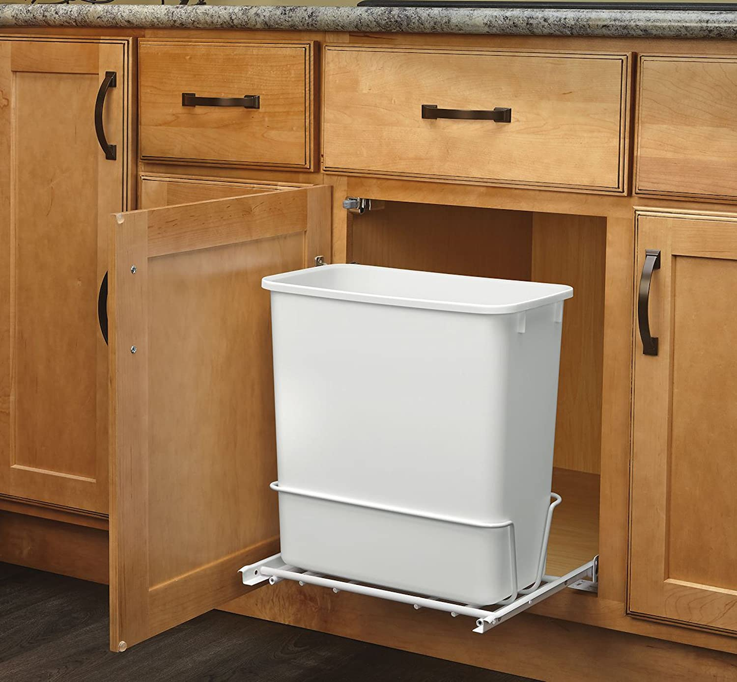 Amazon.com: Rev A Shelf   RV 814PB   Single 20 Qt. Pull Out White Waste  Container With Adjustable Frame: Home U0026 Kitchen