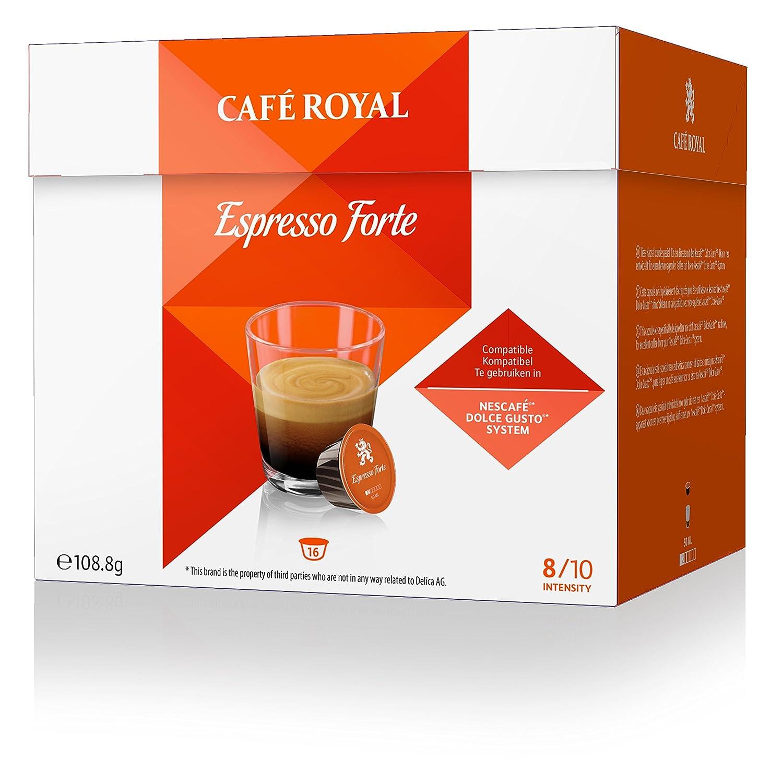 Café Royal Espresso Forte 32 cápsulas compatibles con Nescafé* Dolce Gusto* Intensidad: 8 de 10 (Pack de 2 x 16 cápsulas): Amazon.es: Alimentación y bebidas