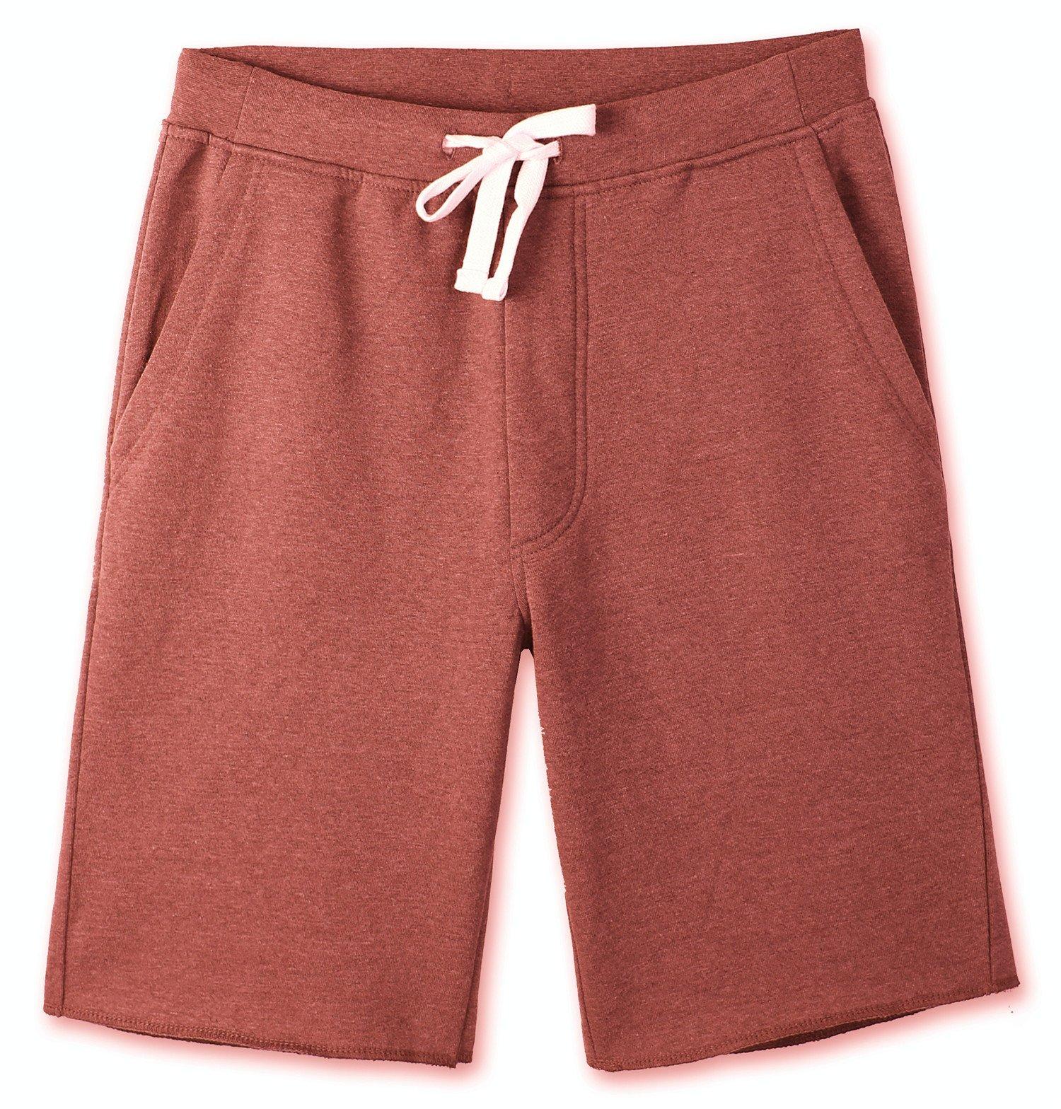HETHCODE Men's Casual Classic Fit Cotton Elastic Fleece Jogger Gym Shorts Heather Rusty L