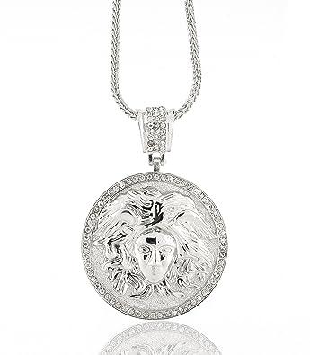 "d652d7262 Iced Out Silver Versace Medusa Head Pendant w/ 30"" & 36"" Franco  Chain"