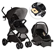 Evenflo Sibby Travel System, Stroller, Car Seat, Ride-Along Board, Oversized Storage Basket, 3-Panel Canopy, Multiple-Position Recline, Easy to Fold and Store, Charcoal