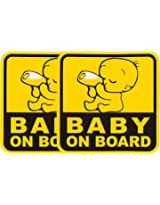"Delzam Baby ON Board (Pack of 2 Exterior Stickers)""Baby and Bottle"" Baby Safety Sign for Your Car Vehicle Truck Vinyl Sticker Decal 5"" x 5"" Funny Graphic Car Window Laptop Self Adhesive"