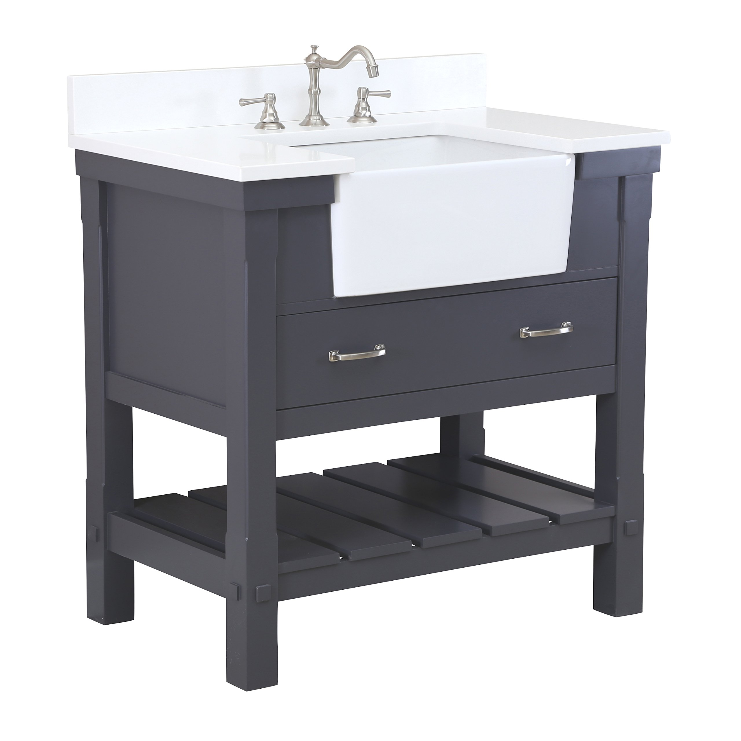 Charlotte 36-inch Bathroom Vanity (Quartz/Charcoal Gray): Includes a Quartz Countertop, Charcoal Gray Cabinet with Soft Close Drawers, and White Ceramic Farmhouse Apron Sink by Kitchen Bath Collection