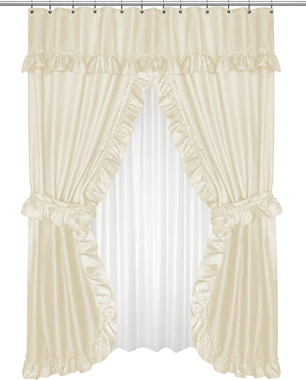 "Black Carnation Home /""Lauren/"" Double Swag Shower Curtain"