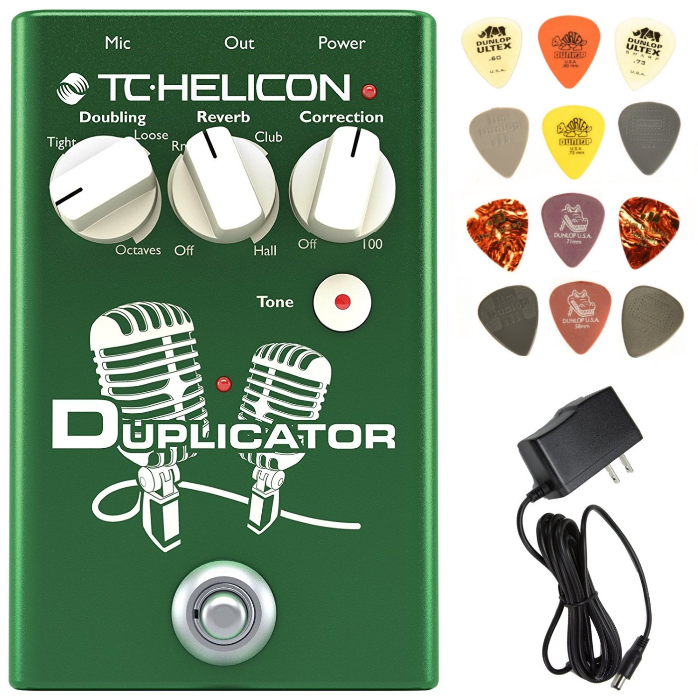 TC Helicon Duplicator Vocal Effects Pedal Bundle with 9V Power Supply and Dunlop Pick Pack