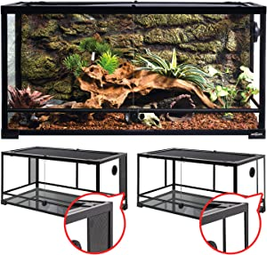 REPTI ZOO 50 Gallon Reptile Glass Tank Terrarium 2 in 1 Side Meshes and Side Glasses Double Hinge Door with Screen Ventilation Tempered Glass Reptile Terrarium 36